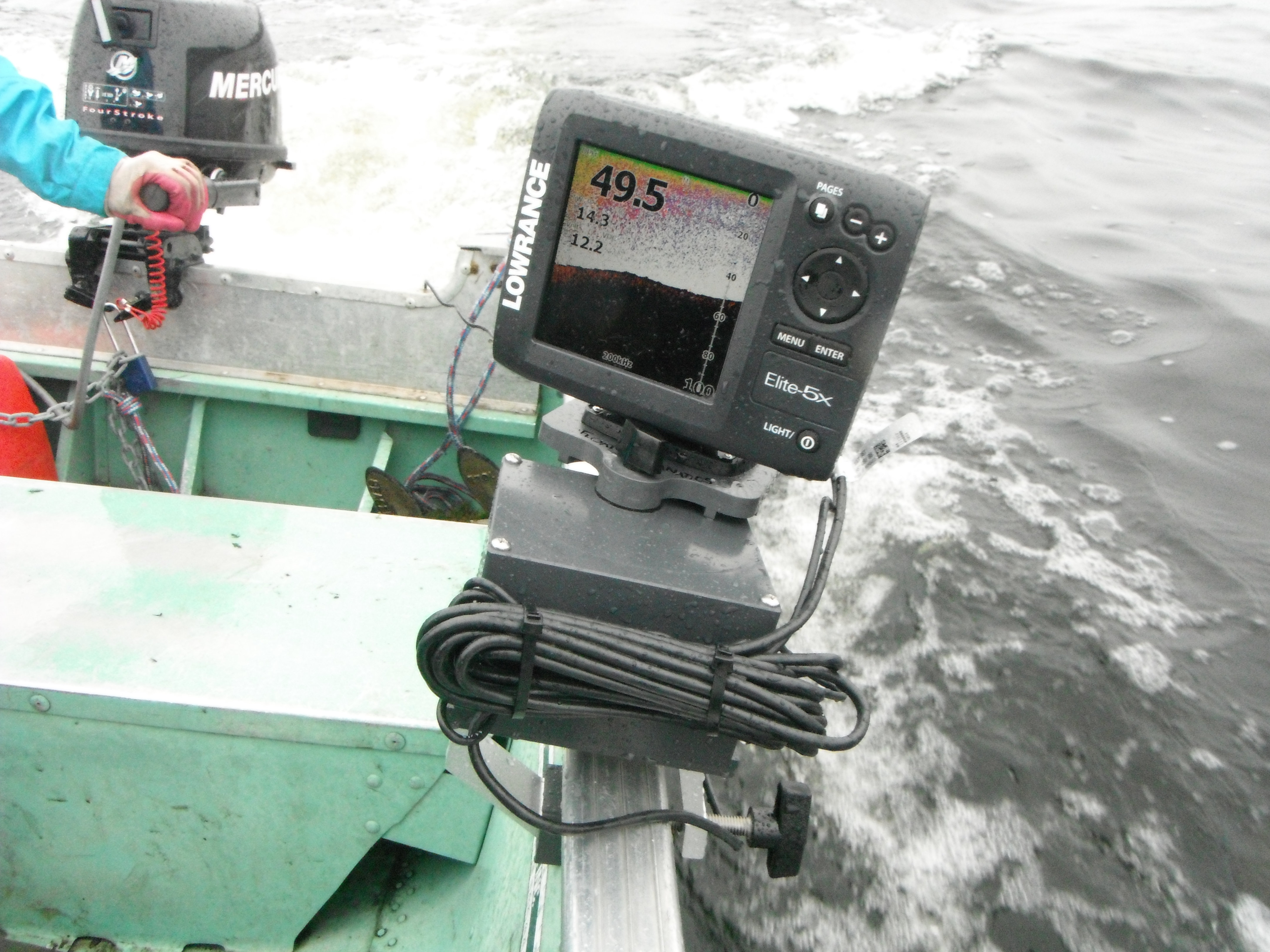 photos of fishfinders installed on boats, float tubes, kayaks, etc., Fish Finder