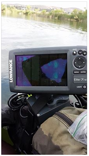 Fish finder mounts com shannon elite 7 hdi on caddis for Float tube fish finder