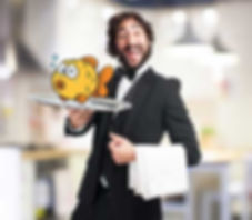 Funny looking waiter holding a tray with a cartoon fish on it.