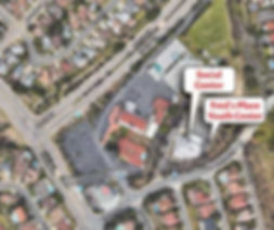 Aerial view & markers for Fred's Place Youth Cente and Social Cente at St. Therese Parish in San Diego.