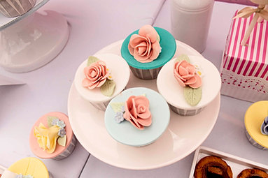Floral themed cupcakes