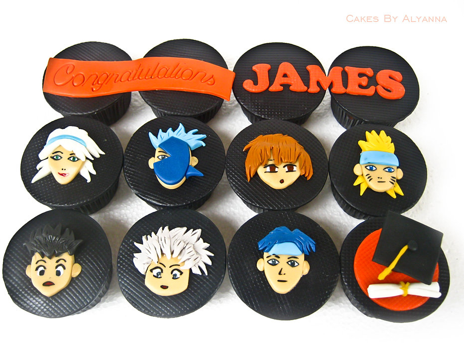 Anime themed graduation cupcakes