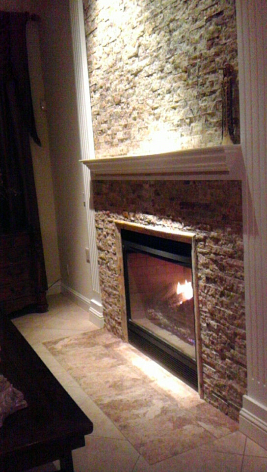 Burnett Tile And Stone Scabos Split Face Fireplace
