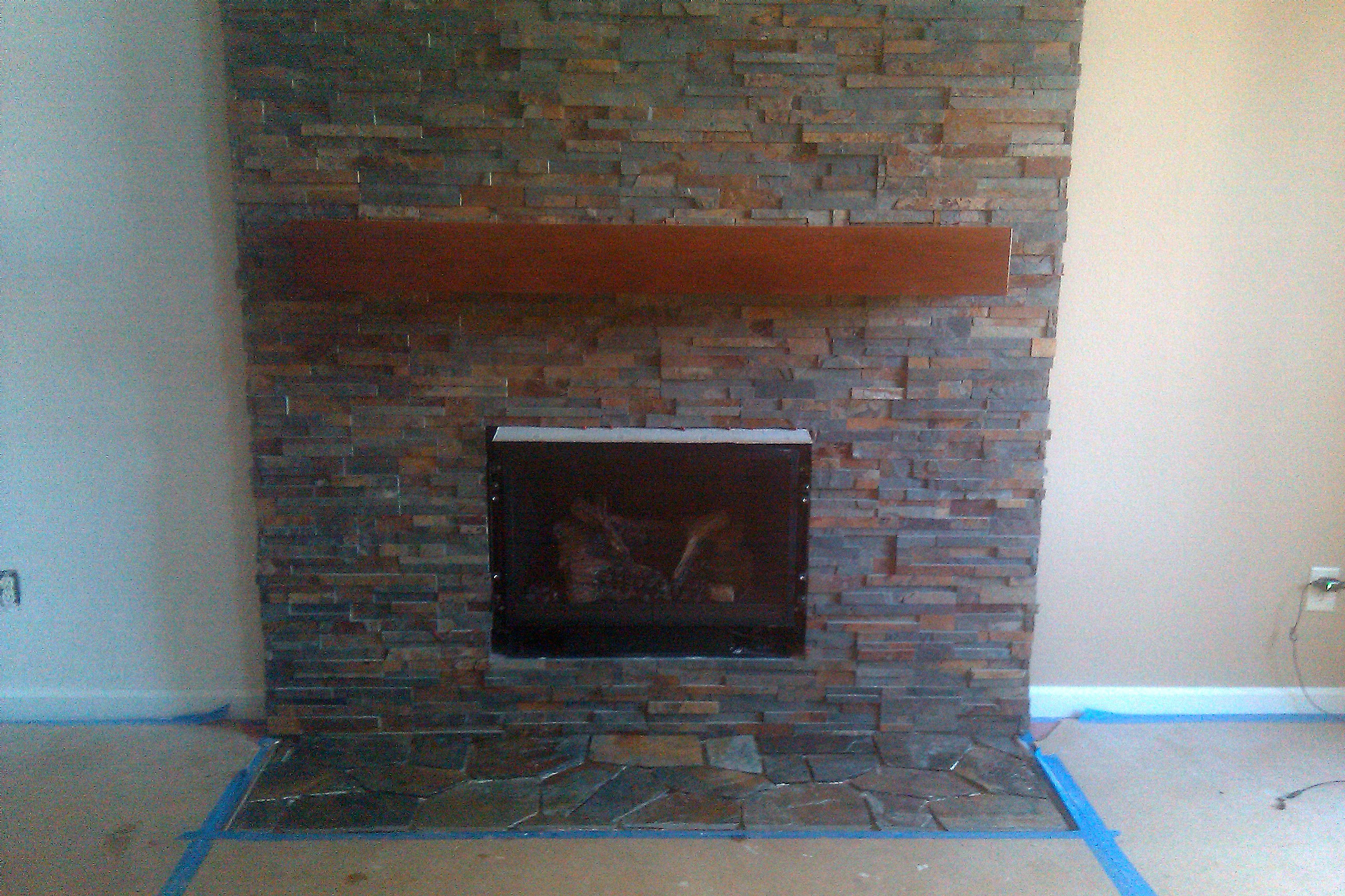 Burnett Tile And Stone Stacked Stone Fireplace