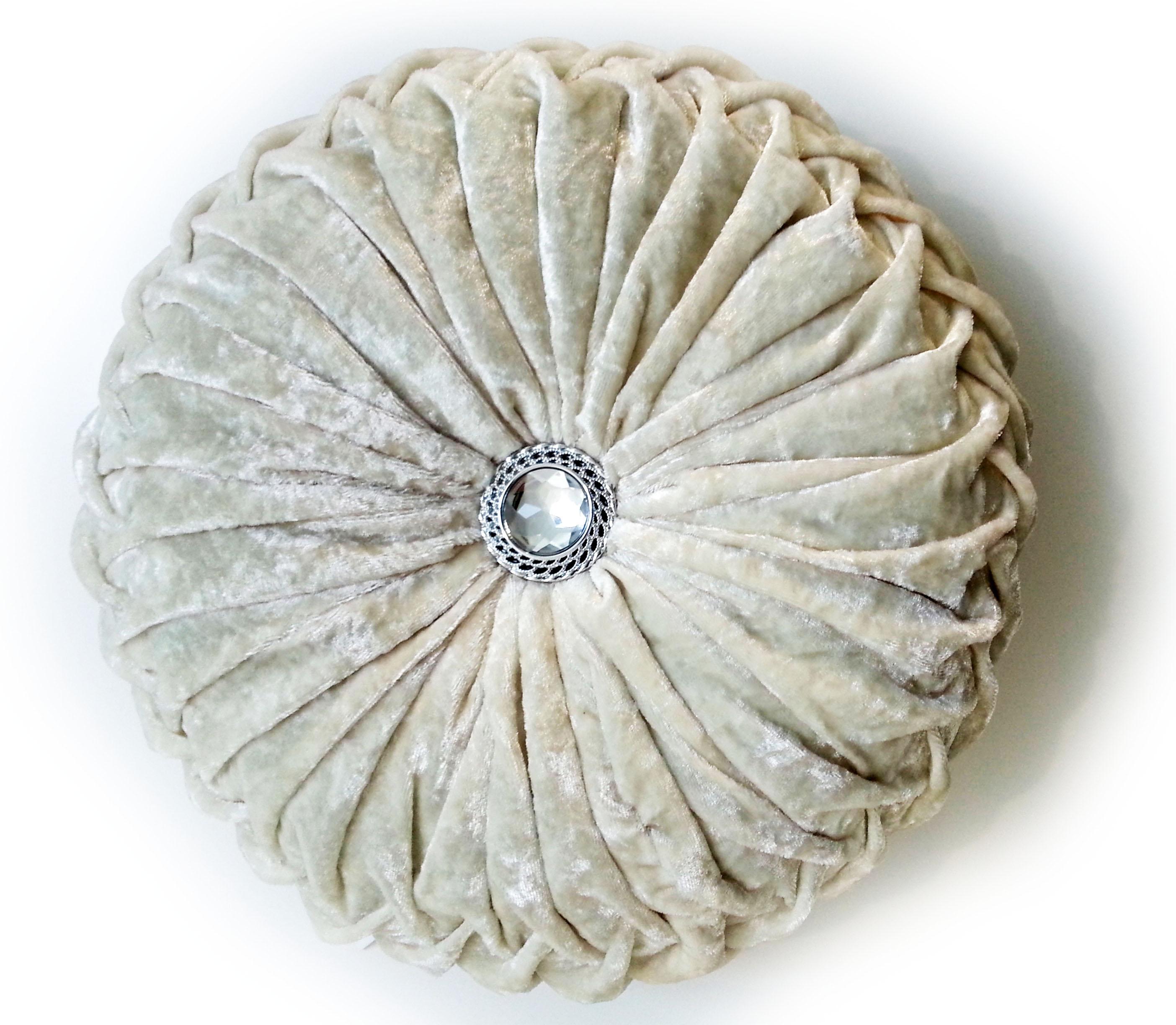 Crush Velvet Round Diamante Filled Cushions Cream