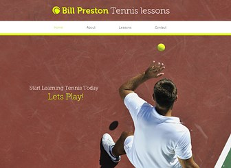 Tennis Instructor Template - An eye-catching sports theme ready to inspire and motivate. Use this space to introduce yourself, share customer testimonials, and advertise your rates. Build your online presence and take your business to the next level!