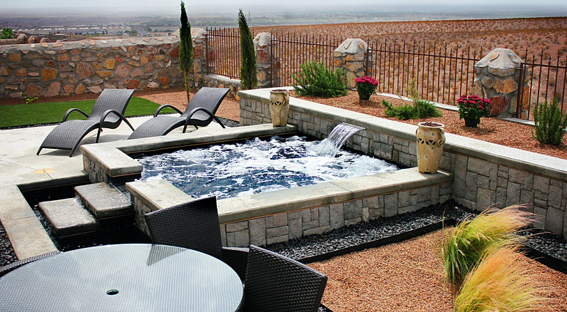 Swimming pools landscaping backyard ideas fire pit for Pool design el paso tx