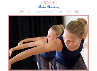 Ballet Studio Template - An elegant and polished website template to represent your dance studio or performing arts academy. Publish your schedule, advertise your classes, and promote upcoming events. Add your own photos and adjust the design and color scheme to express the tone of your establishment!