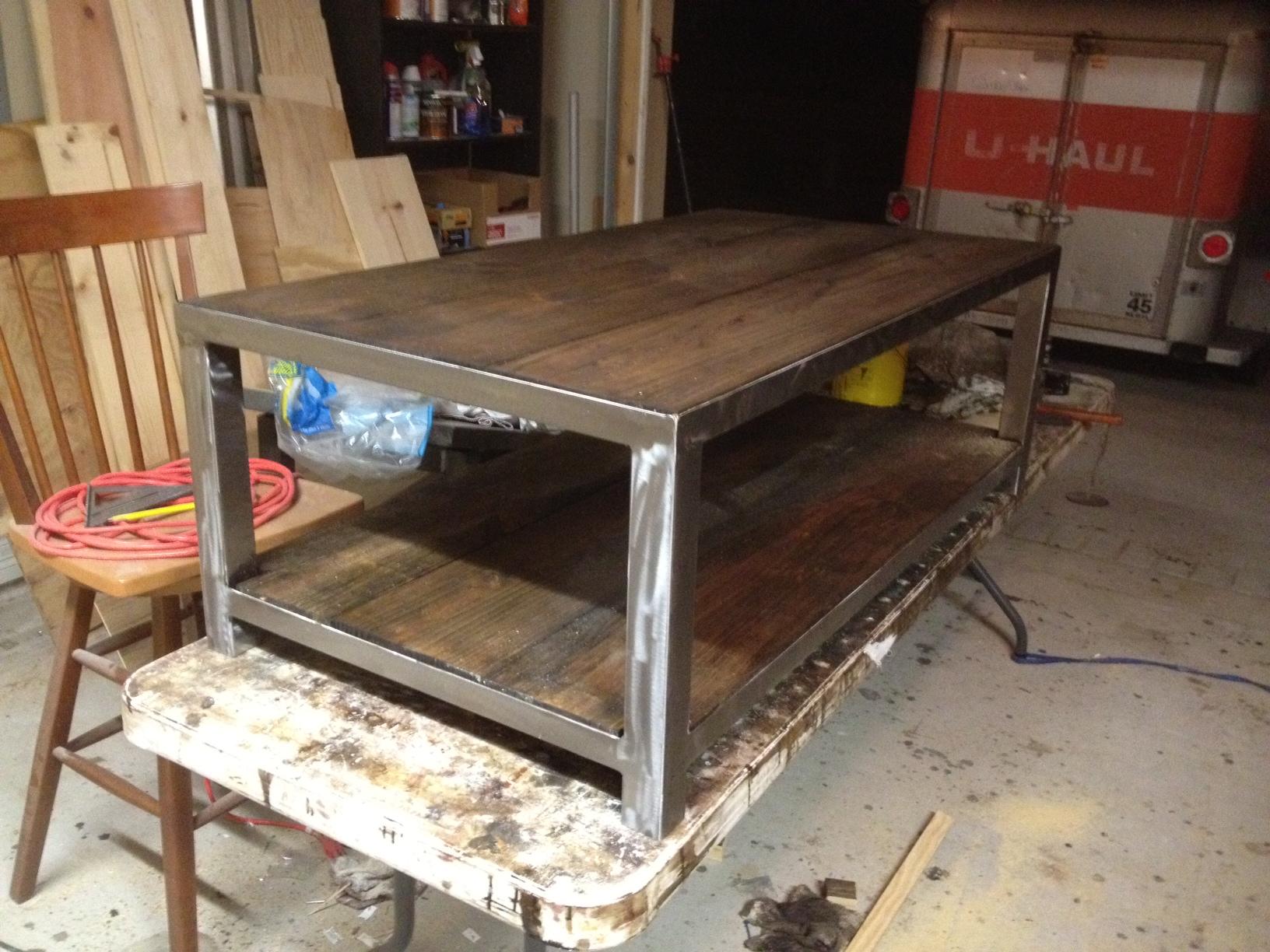 Ross rustic tables metal amp wood coffee table