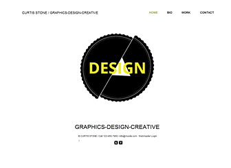 Designer Graphic Template - A minimal website template that lets your creative work speak for itself. Share your biography and customize the photo gallery to show off your work. Start editing to create a stunning online portfolio.