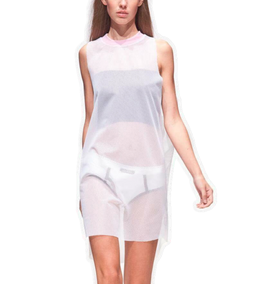 MESH DRESS WHITE &amp PINK COLLAR  Karl Michael Mode