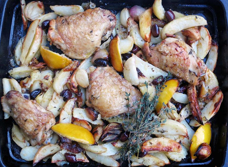 Roast chicken, lemon, potatoes, olives, shallots, garlic & thyme ...