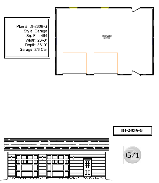 Di38x26a garage canadian stock home plans ontario for Garage plans ontario