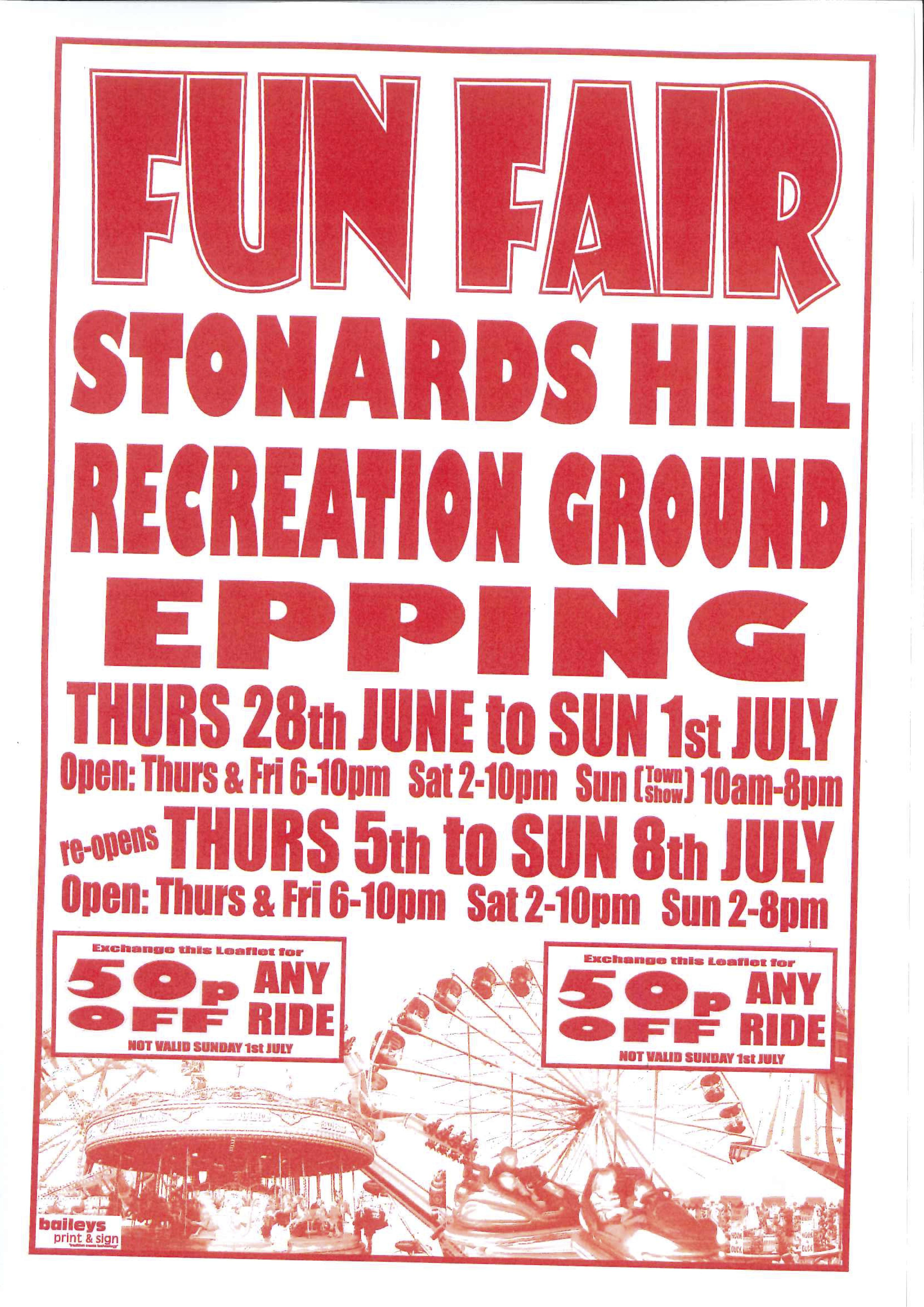 stonards hill recreation ground fun fair june july 2018 epping town council