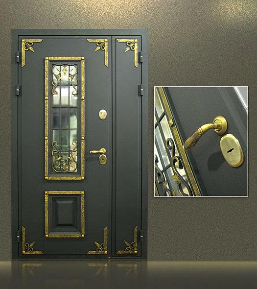 стальная двупольная дверь с ковкой и стеклопакетом