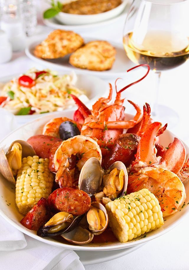 Kettle Stacked New England Lobster, Steamer Clams, Blue Water Shrimp ...