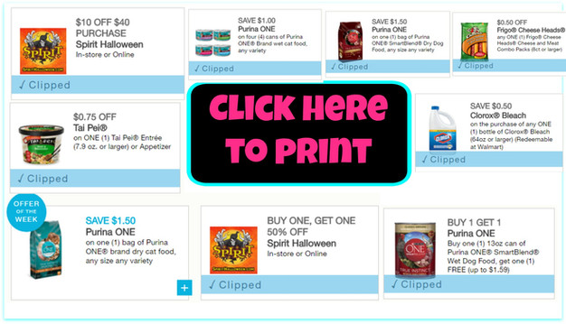 New printable coupons! Spirit Halloween, Clorox, Purina One and ...