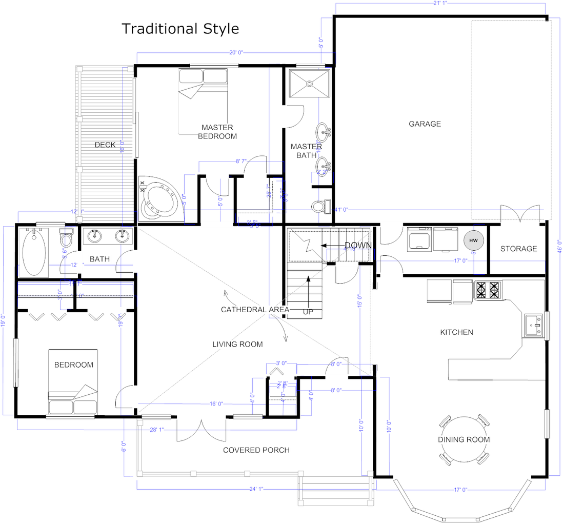 Floor Plan Example Traditional House Png
