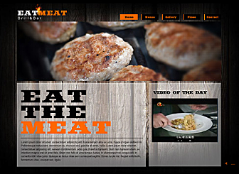 Grill & Bar Template - Fire up the grill and get comfy. This restaurant layout offers a thick, dark wood-cabin feel that will allow your food images to stand out. Minimal orange details and Flash fire animation complete the warm and mouth watering experience.