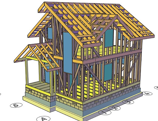Проектирование каркасного дома обязательно включает в себя разработку стропильной системы