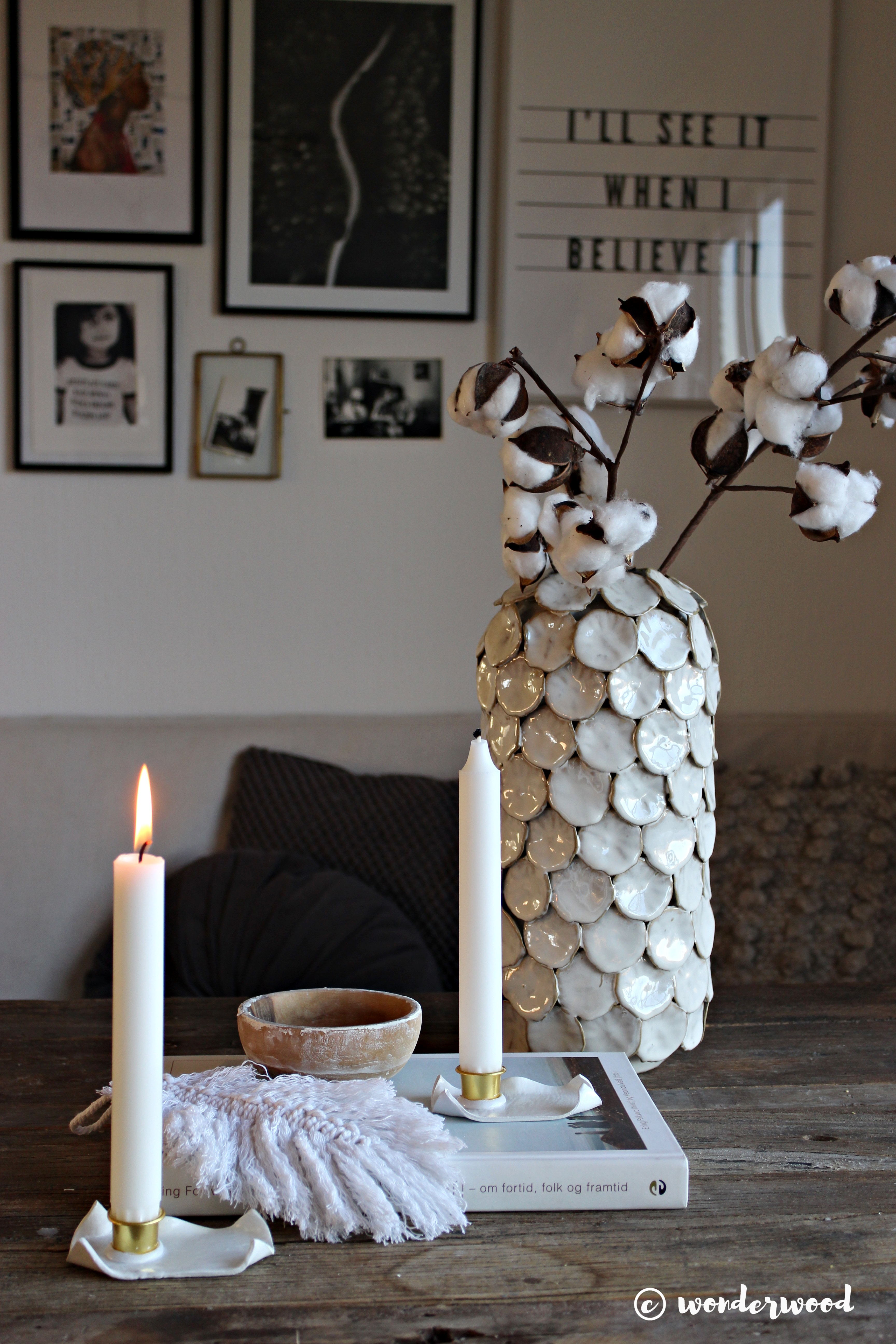 diy lysestake av leire // diy clay candle holder