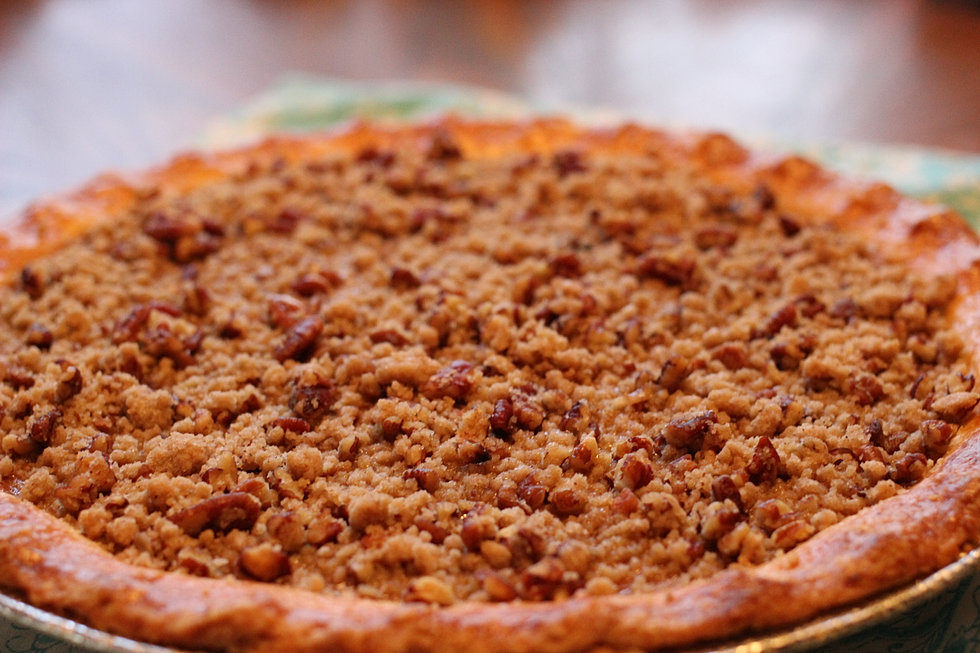 Maple Bourbon Pumpkin Pecan Pie