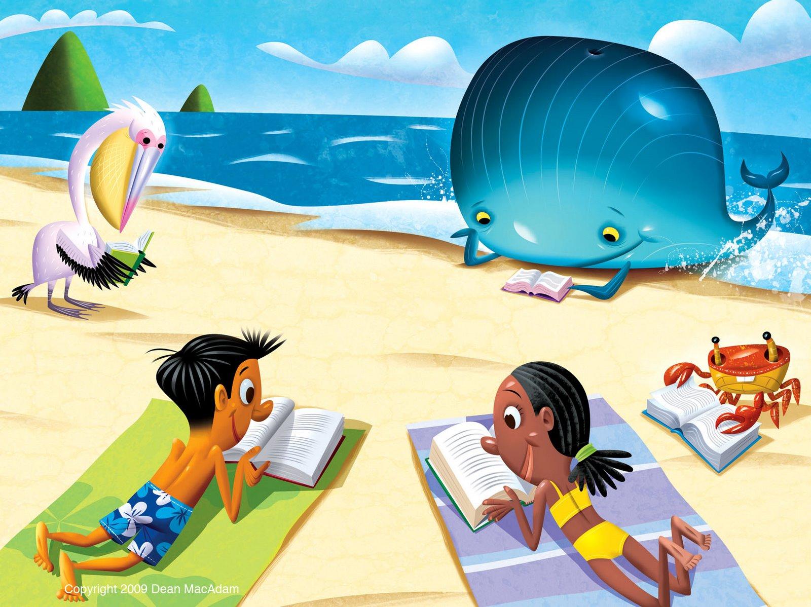 Image result for cartoon summer beach reading