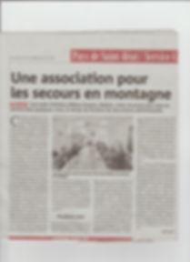 Article Gazette secours montagne Melles.