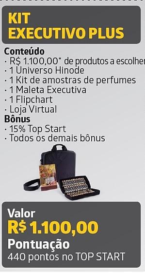• Kit Executivo PLUS o Quem entra com esse kit tem direito à 15% no Bônus TOPSTART (binário) o Pode avançar no plano de carreira Hinode