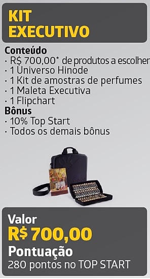 • Kit Executivo o Quem entra com esse kit tem direito à 10% no Bônus TOPSTART (binário) o Pode avançar no plano de carreira Hinode