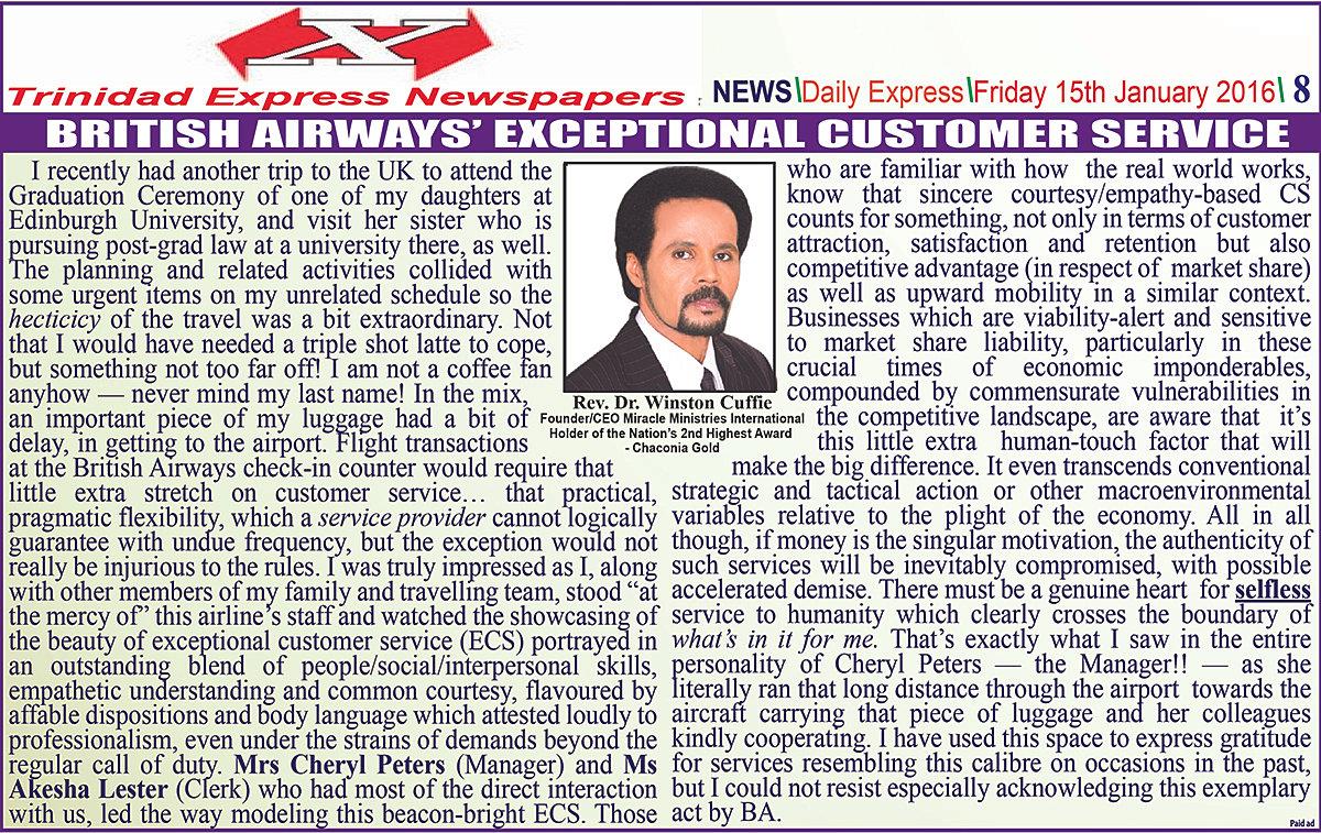 miracle ministries international british airways exceptional miracle ministries international british airways exceptional customer service