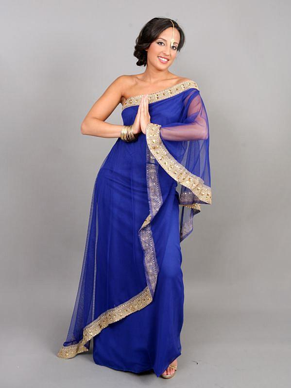 ... Naba - Site de location de robes entre particulier   Sari Moderne Bleu