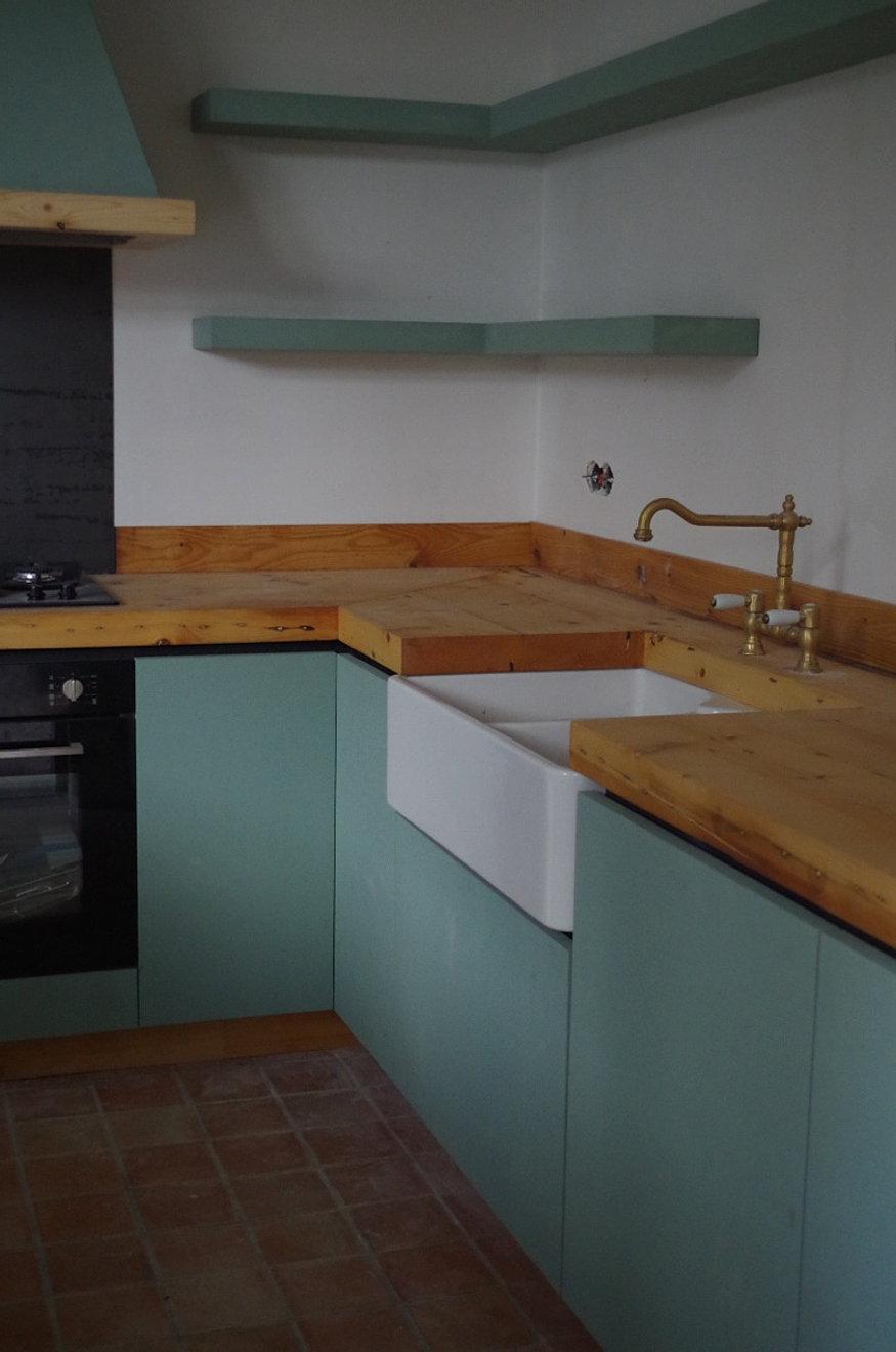 Woonkamer turquoise grijs - Open keuken op verblijf ...