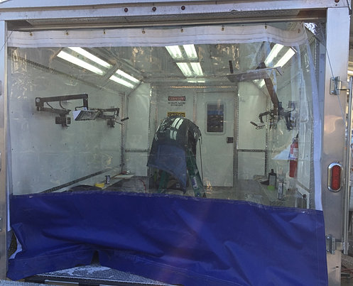Mobile auto body and paint trailers for Mobile auto painting