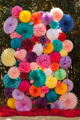 Paper Flowers Backdrop Photo Booth Mexican Themed Wedding