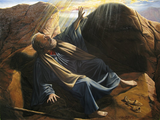 Image result for photo Moses in the cleft of the rock