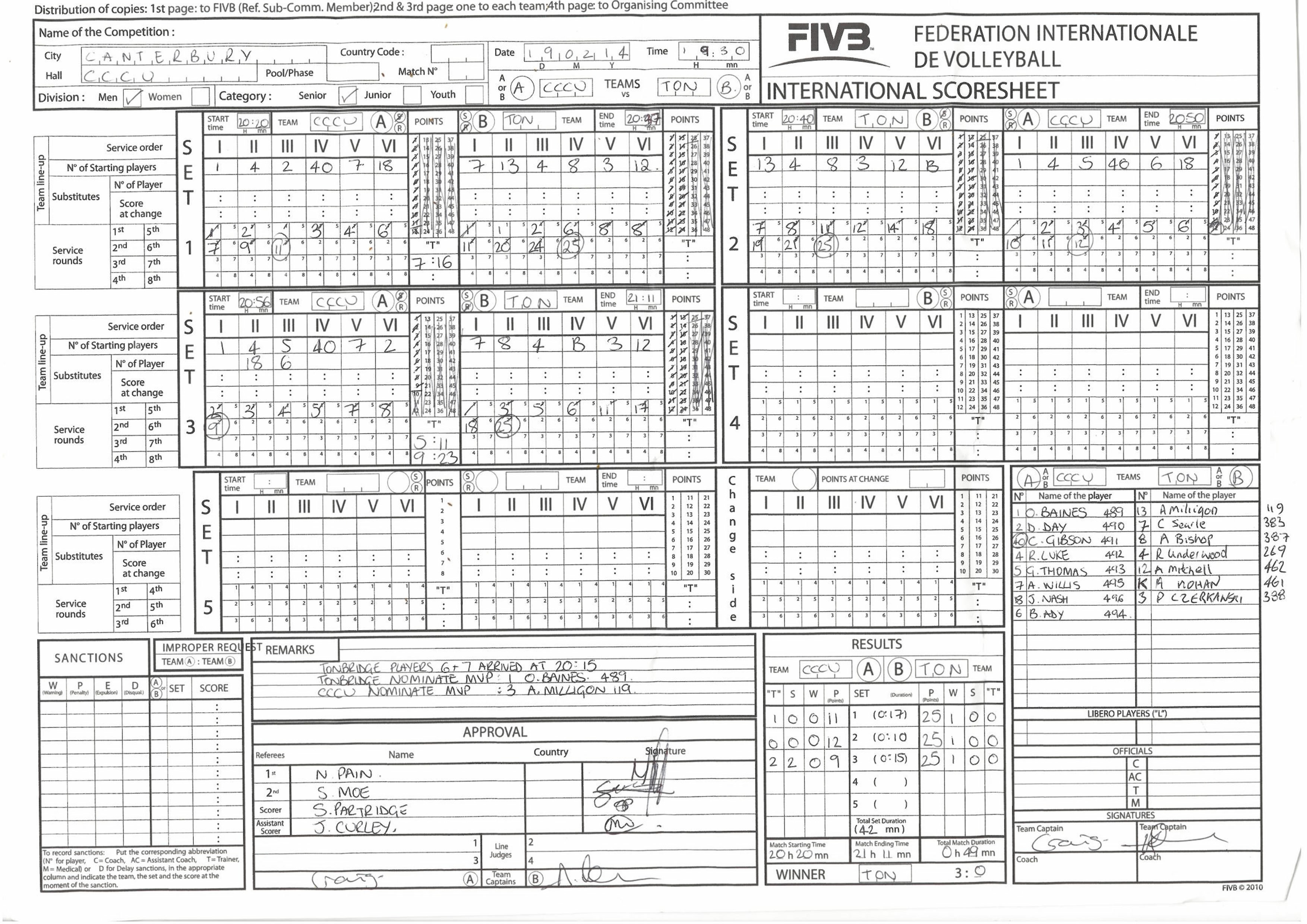 Learn how to complete the scoresheet – Volleyball Score Sheet Template