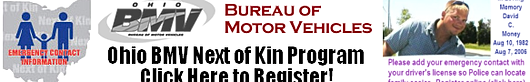 Ohio BMV Next of Kin Program