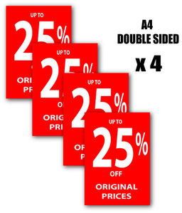 25 off red a4 posters x 4 d s sale posters and signs for shops and