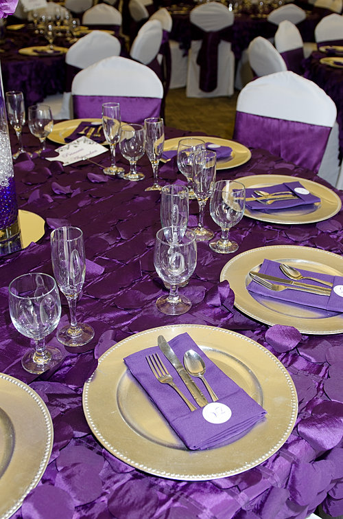 Purple Table Setting & Silver Purple Wedding Table Settings ...