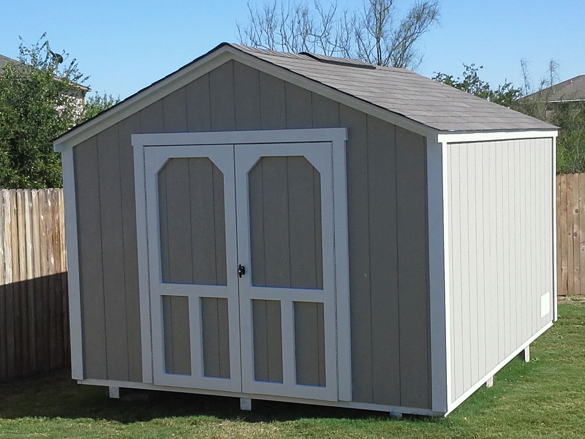 Backyard barns custom wood storage sheds san antonio for Gable style shed
