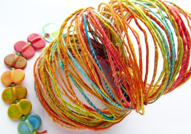 Bright Earth Woolywire and Bright Earth Wing Ding Beads