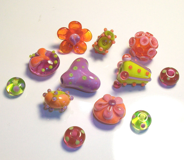 """Happy Candy"" lampwork bead set by Third Eye Gypsy(Genea Beads)"