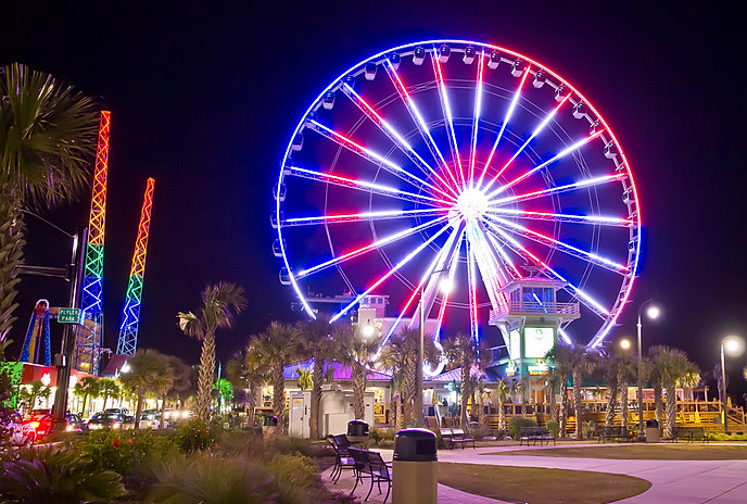 Myrtle Beach Boardwalk And Promenade The Skywheel At Night