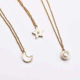 Gold Philosophy: CRESCENT CHARM NECKLACE | Jewelry,Jewelry > Necklaces -  Hiphunters Shop