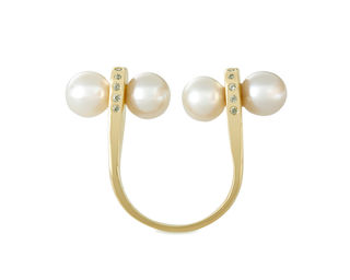 Gold Philosophy: Twin Pearls Open Ring - Hiphunters Shop