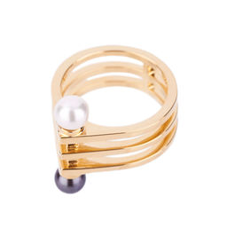 Gold Philosophy: Geometric Two - Tone Pearl Ring | Jewelry,Jewelry > Rings -  Hiphunters Shop
