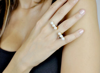 Gold Philosophy: Open Bar Pearl Ring | Jewelry,Jewelry > Rings -  Hiphunters Shop