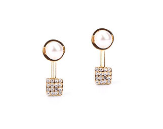 CUBE PEARL EARRINGS