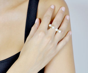 Gold Philosophy: Twin Pearls Open Ring | Jewelry,Jewelry > Rings -  Hiphunters Shop